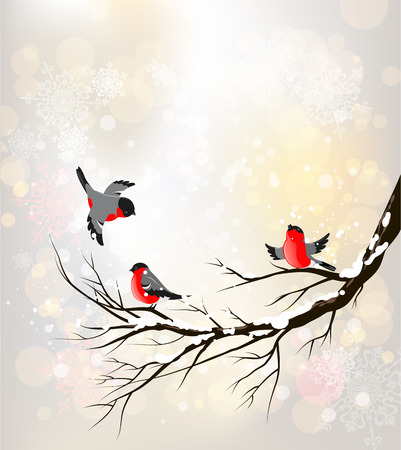 Illustration pour Winter background with birds. Place for text. - image libre de droit