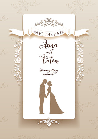 Photo pour Elegant wedding invitation with bride and groom. Holiday design for leaflet, cards, invitation and so on. Place for text. - image libre de droit