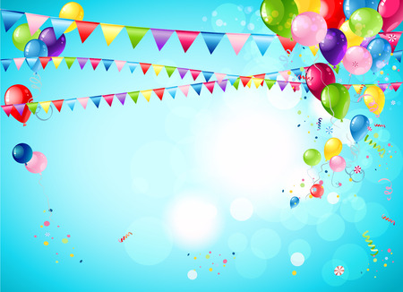 Illustration pour Bright festive background with balloons, flags and confetti - image libre de droit