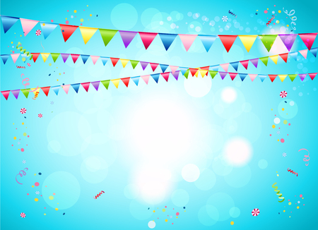 Illustration pour Festive background with flags for advertising, cards, invitation and so on. - image libre de droit