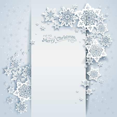 Illustration pour Winter holiday card for web, banner, invitation, leaflet and so on. Christmas background with snowflakes. - image libre de droit