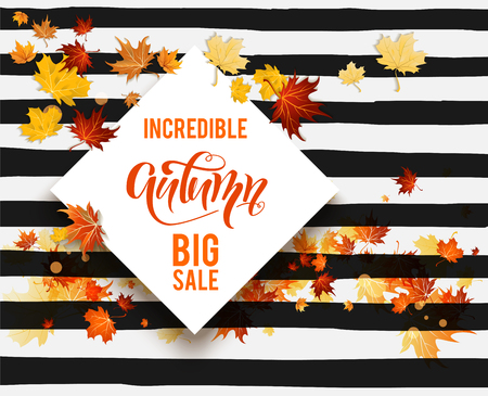 Illustration pour Hello fall sale striped card. - image libre de droit