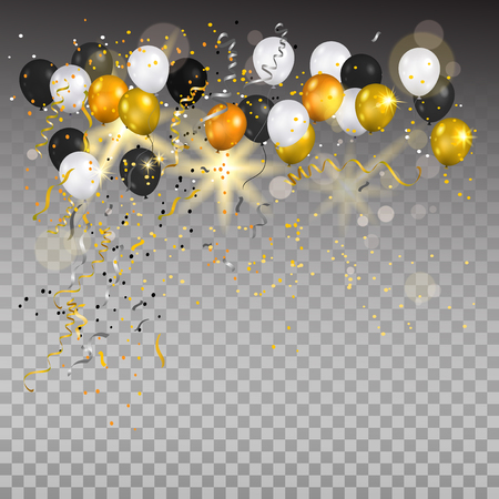 Illustration for Color holiday white, gold and black balloons. Holiday balloons and confetti on transparent background. Anniversary, celebration or party decoration. - Royalty Free Image