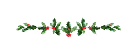 Illustration for Christmas festive holly decoration. Holiday nature design element for design banner, ticket, poster, invitation or card, leaflet and so on. - Royalty Free Image