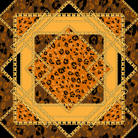 Abctract seamless pattern with golden chain with animal skin background for fabric. Trendy repeating leopard print.