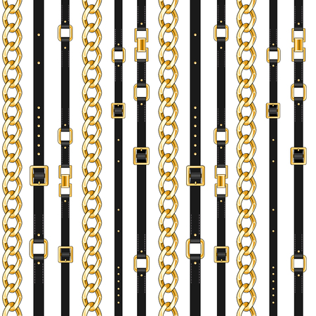 Ilustración de Abctract seamless pattern with belts and chain isolated for fabric. Trendy repeating print. - Imagen libre de derechos