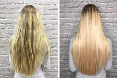 Foto de Sick, cut and healthy hair. Hair before and after treatment. - Imagen libre de derechos