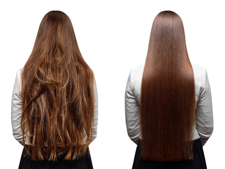 Foto de Sick, cut and healthy hair care keratin. Before and after treatment. - Imagen libre de derechos