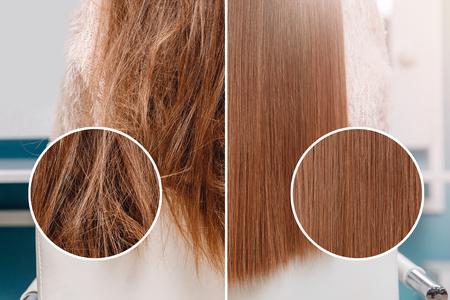 Foto de Sick, cut and healthy hair care straightening. Before and after treatment. - Imagen libre de derechos
