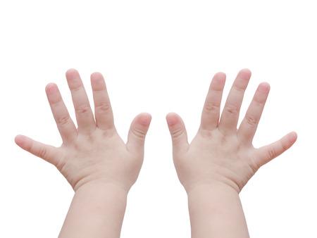 Photo pour Baby hands over white - image libre de droit