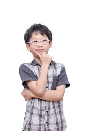 Photo pour Asian boy thinking over white background - image libre de droit