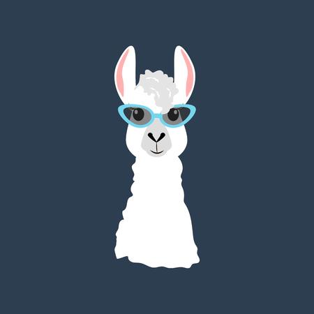 Illustration pour Llama in cateye glasses on the blue background. Vector illustration - image libre de droit