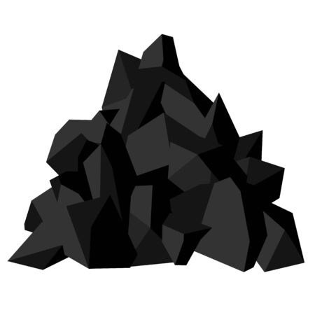 Illustration pour Pile of coal. Pieces of fossil stone, black color. Vector image isolated on white background - image libre de droit