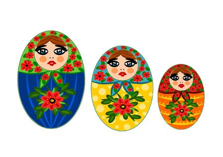 Three wooden beauty and colorful Russian dolls