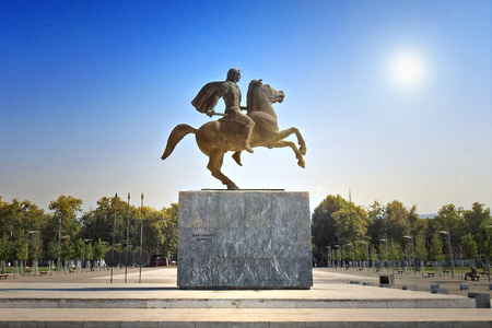 Photo for Statue of Alexander the Great, the famous king of Macedon, in Thessaloniki - Greece - Royalty Free Image