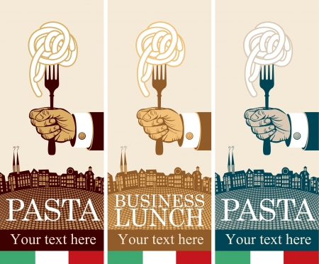 three banners with pasta on fork in hand
