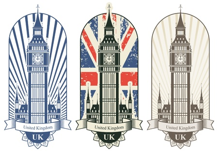 Illustration pour three posters with Big Ben and the British flag - image libre de droit