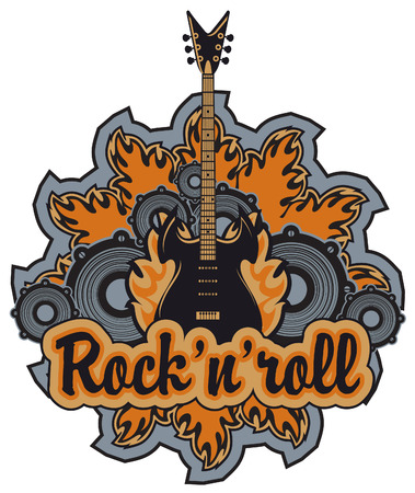 emblem with an electric guitar, speakers inscription rock and roll
