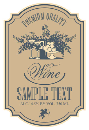 Illustration pour wine retro label with a still life of bottles, fruit and lilac - image libre de droit