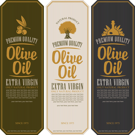 Ilustración de set of labels for olive oils - Imagen libre de derechos