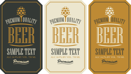 Ilustración de set labels for beer in a retro style with malt - Imagen libre de derechos