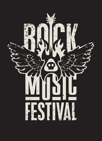 Illustration pour poster for a rock music festival with  skull, guitar and wings - image libre de droit