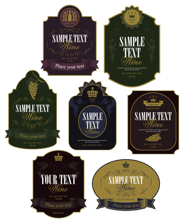 Ilustración de Set of vector labels on wine in retro style - Imagen libre de derechos