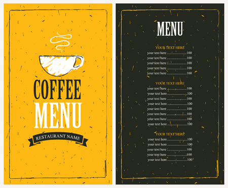 Illustration pour menu for a cafe with price list and a cup of coffee - image libre de droit