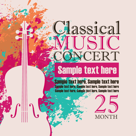 Illustration for music concert poster for a concert of classical music with the image of a violin on a background of color splashes and drops - Royalty Free Image