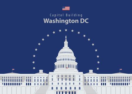 Illustration pour Vector illustration Capitol Building in Washington DC - image libre de droit