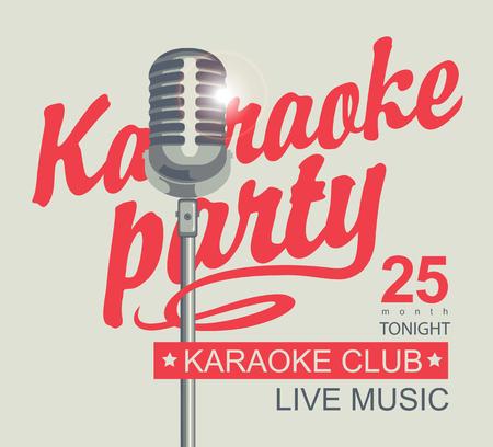 Ilustración de Vector banner for karaoke club with a microphone and calligraphic inscription karaoke party - Imagen libre de derechos