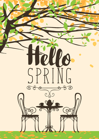 Illustration pour Vector landscape with the inscription Hello Spring in retro style. Outdoor cafe furniture, tea table covered for two with two cups and a teapot under blooming tree with green leaves and yellow flowers - image libre de droit