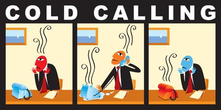 Ilustración de Vector comic with a businessman who makes cold call. Business strategy. A cold calling to the client - Imagen libre de derechos