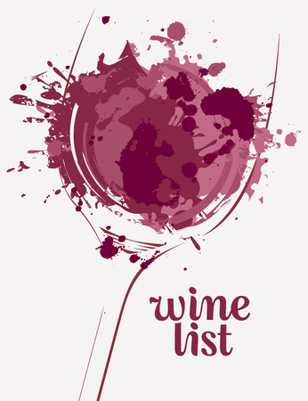 Illustration for Vector Wine list with a silhouette of a glass of wine with wine spots and splashes on light background - Royalty Free Image
