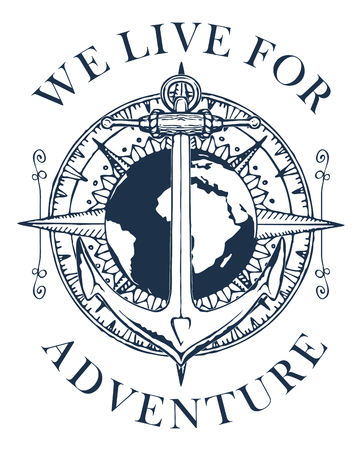 Ilustración de Retro banner with a ship anchor, wind rose and planet Earth. Vector black and white illustration on the theme of travel, adventure and discovery with words We live for adventure. - Imagen libre de derechos