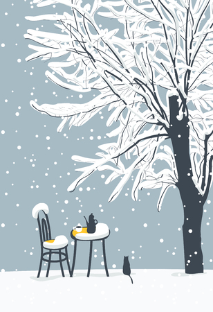 Illustration pour Vector winter banner or landscape with snow-covered tree and open-air cafe with hot tea on the table and lonely cat - image libre de droit