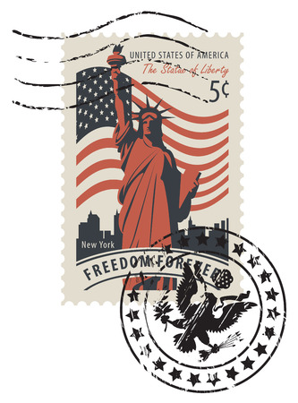 Ilustración de Vector illustration of a 5-cent USA postage stamp with a postmark in retro style. Postage stamp with statue of Liberty in background of american flag and New York skyscrapers and words Freedom forever - Imagen libre de derechos