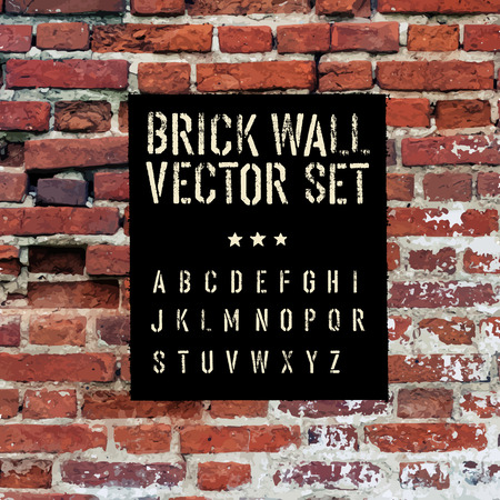 Illustration pour Brick traced texture, stencil alphabet and grunge rectangle. Three in one.  Vector set - image libre de droit