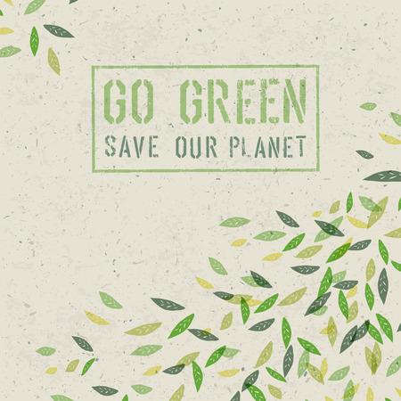 Ilustración de Go Green concept on recycled paper texture. Vector - Imagen libre de derechos