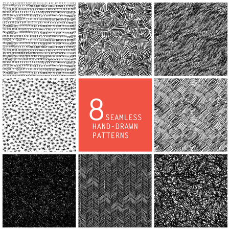 Illustration for 8 seamless hand-drawn patterns - Royalty Free Image