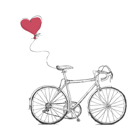 Illustration pour Vintage Valentines Illustration with Bicycle and Heart Baloon - image libre de droit