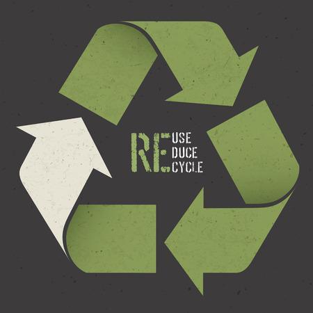 Ilustración de Reuse conceptual symbol and Reuse, Reduce, Recycle text on Dark Recycled Paper Texture - Imagen libre de derechos