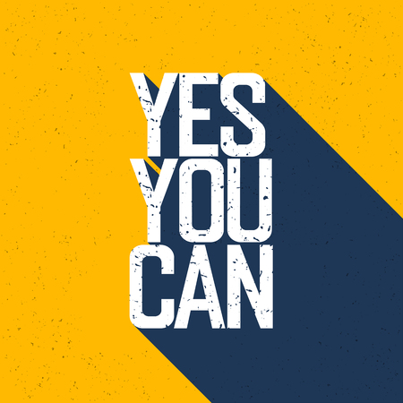 Illustration pour Motivational poster with lettering Yes You Can. Shadows, on yellow paper texture. - image libre de droit