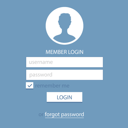 Photo pour Member Login Template. Simple and Flat. - image libre de droit