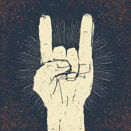 Illustration pour Grunge rock on gesture illustration. Template for your slogan, text, etc. - image libre de droit