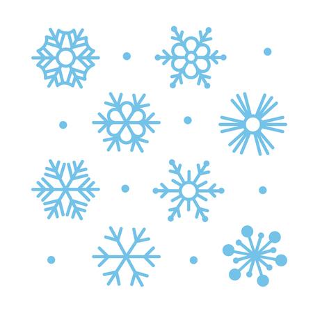 Illustration pour Simple Flat Snowflakes Icon Set - image libre de droit