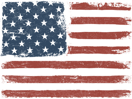Photo pour American Flag Grunge Background. Vector Template. Horizontal orientation. - image libre de droit