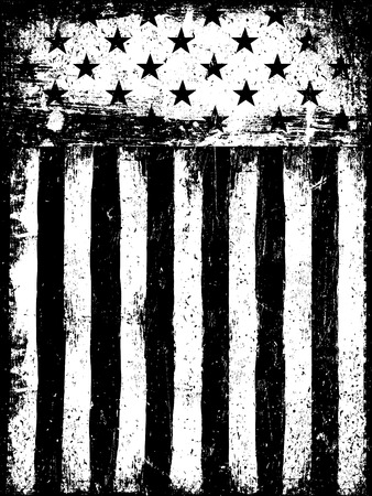 Illustration for Stars and Stripes. Monochrome Negative Photocopy American Flag Background. Grunge Aged Vector Template. Vertical orientation. - Royalty Free Image