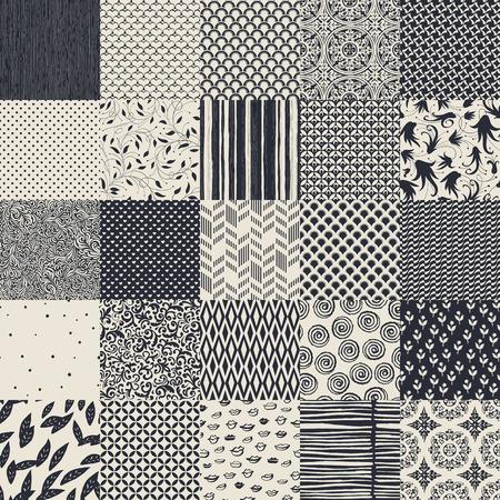 Illustration pour 25 seamless different vector monochrome patterns. Geometric, floral, ornamental, hand drawn patterns collection. - image libre de droit