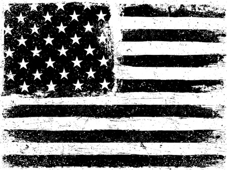 Illustration pour American Flag Background. Grunge Aged Vector Template. Horizontal orientation. Monochrome gamut. Black and white. Grunge layers can be easy editable or removed. - image libre de droit